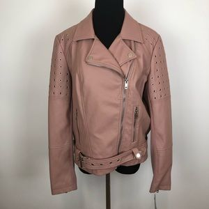 Faux leather motorcycle studded pink jacket large